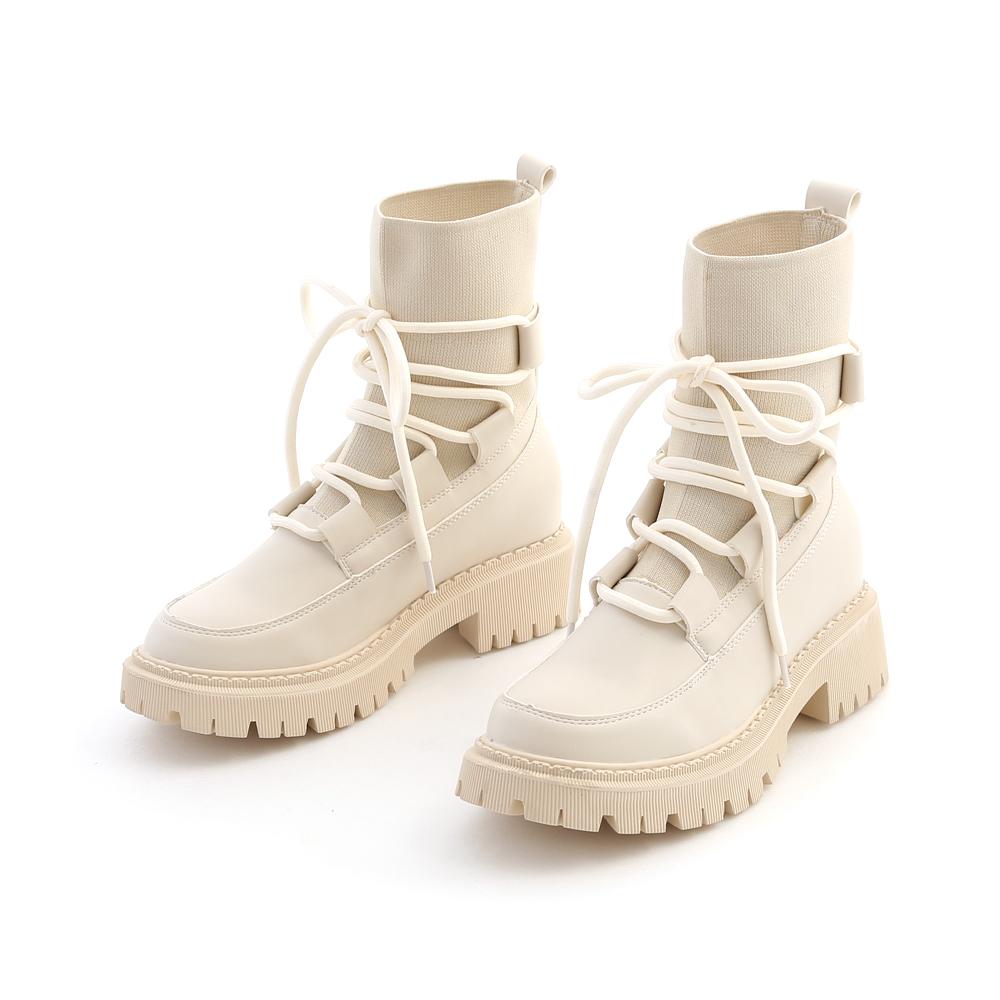 時髦出擊.針織拼接鬆糕底綁帶靴 百搭米