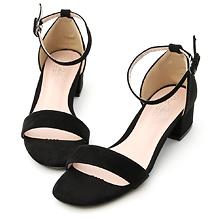D+AF 一字繫踝方頭低跟涼鞋