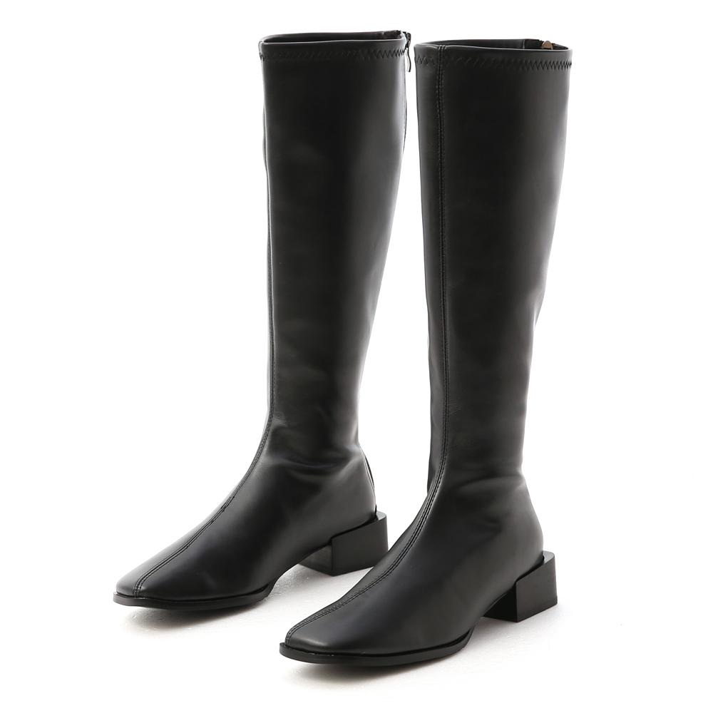 冬氛宣言.斜方頭積木跟膝下長靴 時尚黑