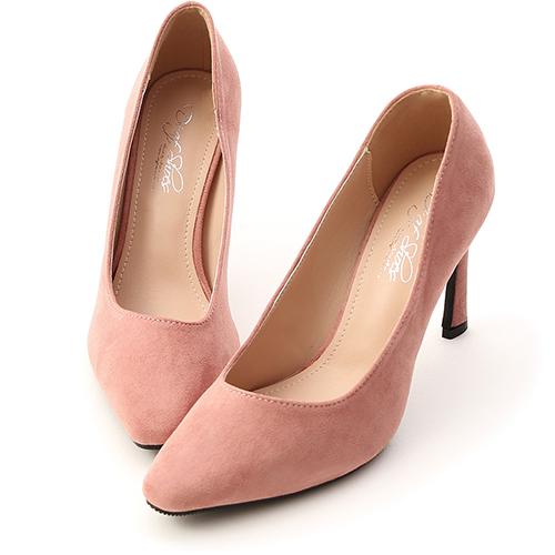 D+AF 美腿時代.素面絨料尖頭高跟鞋
