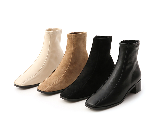Seam Line Detail Sock Boots Black