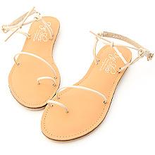 D+AF 涼夏自在.一字細帶綁結平底涼鞋