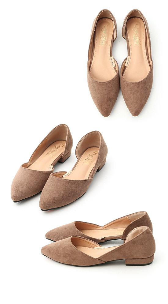 Faux Suede Pointed Toe D'orsay Shoes Brown
