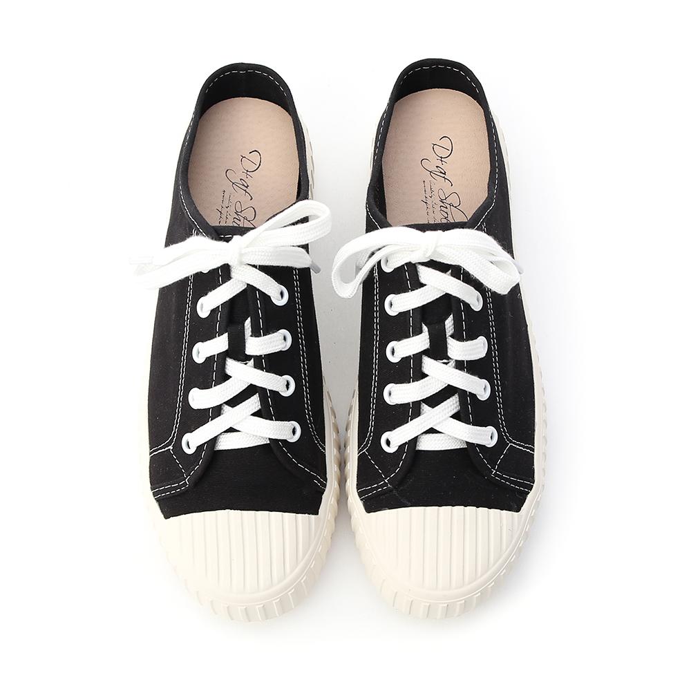 隨性日常.休閒帆布穆勒餅乾鞋 時尚黑