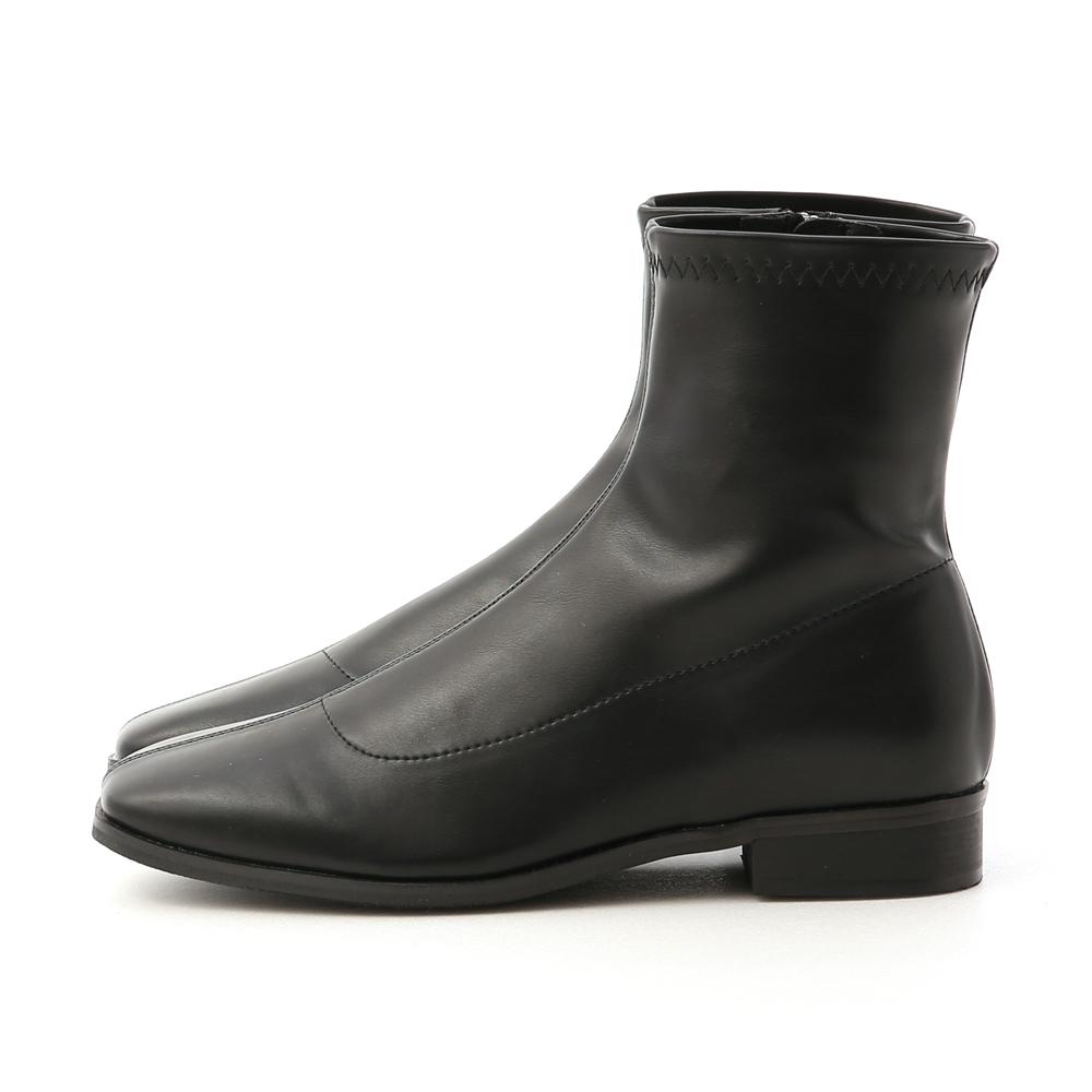定番焦點.中車線方頭低跟襪靴 時尚黑