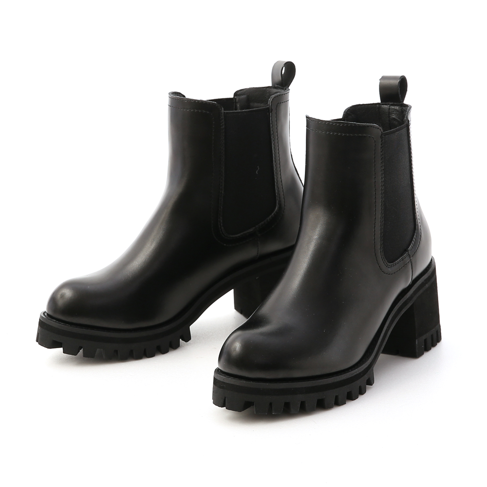 歐美風尚.厚底高跟切爾西短靴 時尚黑