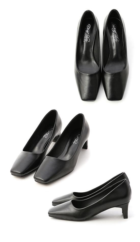 Classic Square Toe Mid Heel Pumps Black