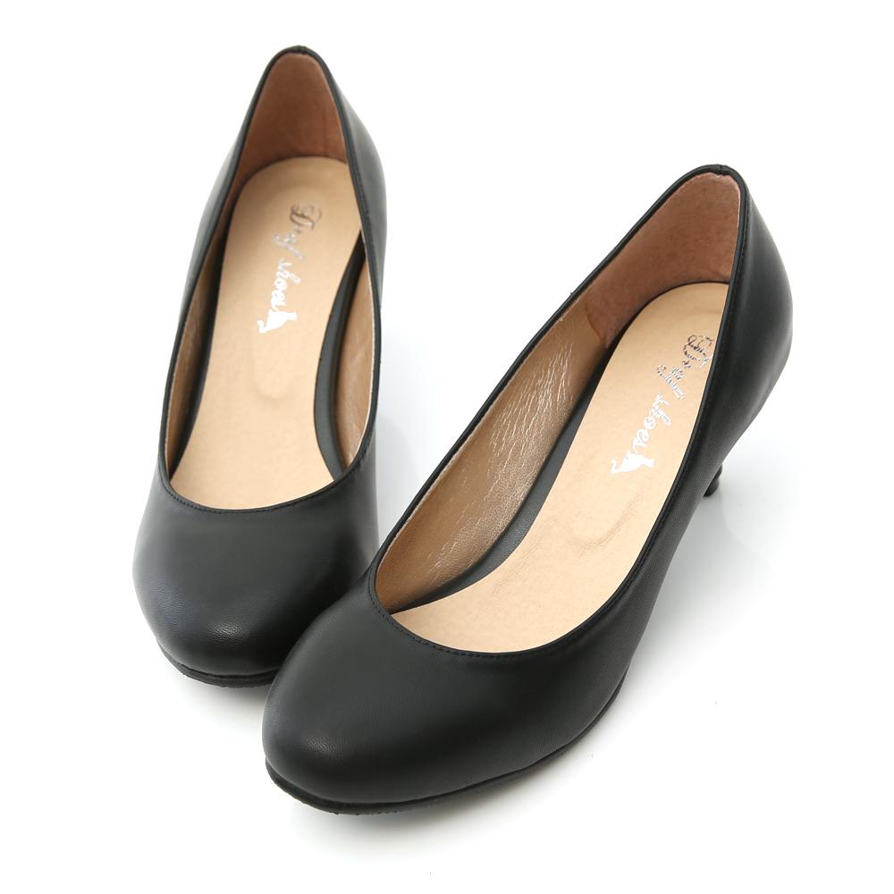 百搭單品.MIT素面圓頭5.5cm中跟鞋 時尚黑