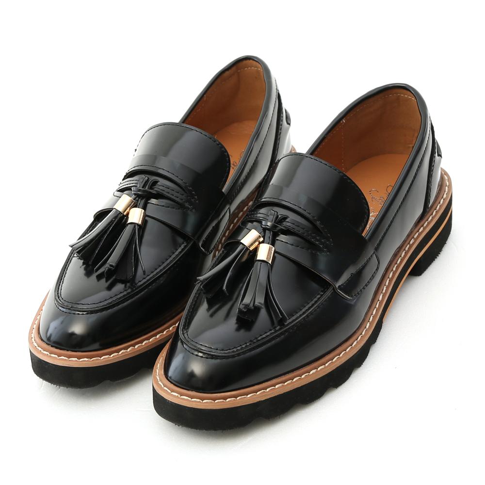 Patent Leather Fringed Platform Loafers Black
