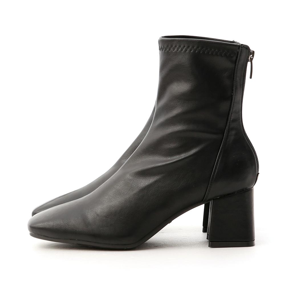 スクエアトゥストレッチブーツ ブラック