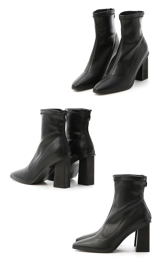 Plain Pointed Toe Black Wooden Heel Boots Black