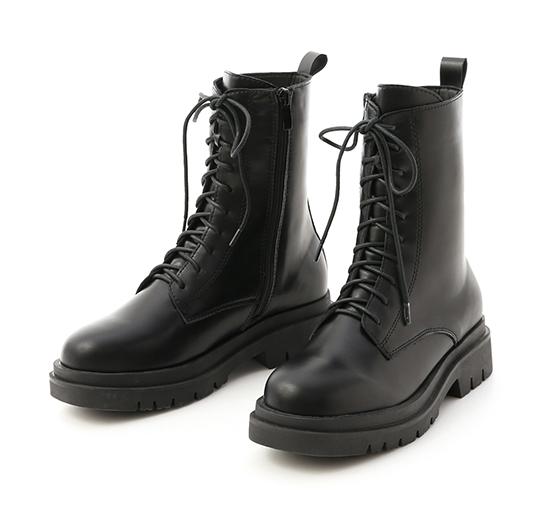 酷帥有型.鬆糕底綁帶中筒馬汀靴 時尚黑