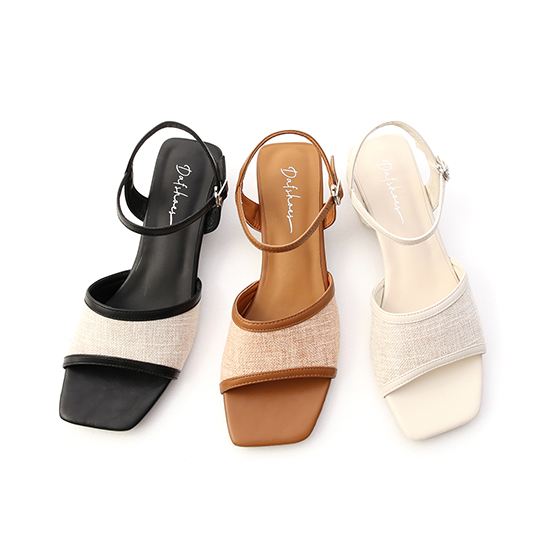 南法風情.亞麻布拼接低跟涼鞋 時尚黑
