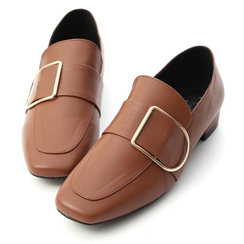 質感主打.金屬方金釦低跟樂福鞋