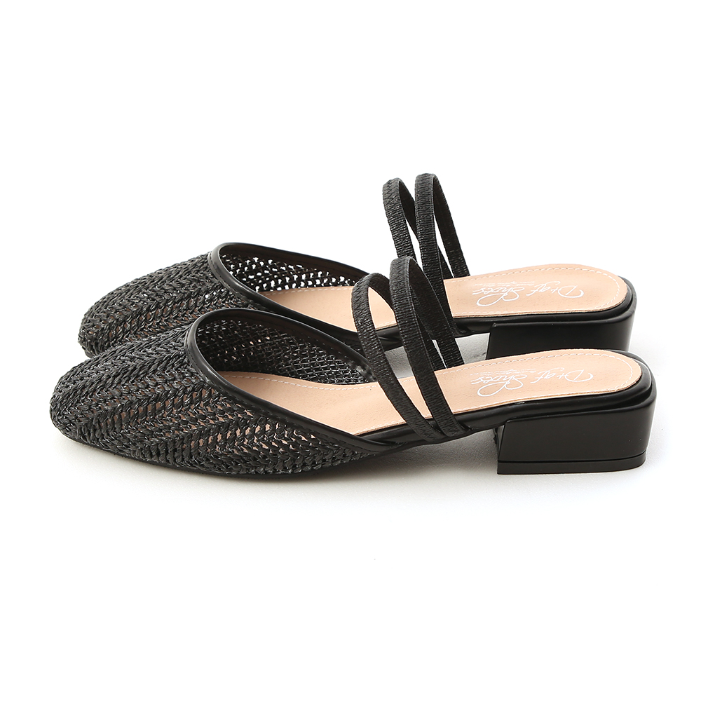 Woven Strap Mules Black