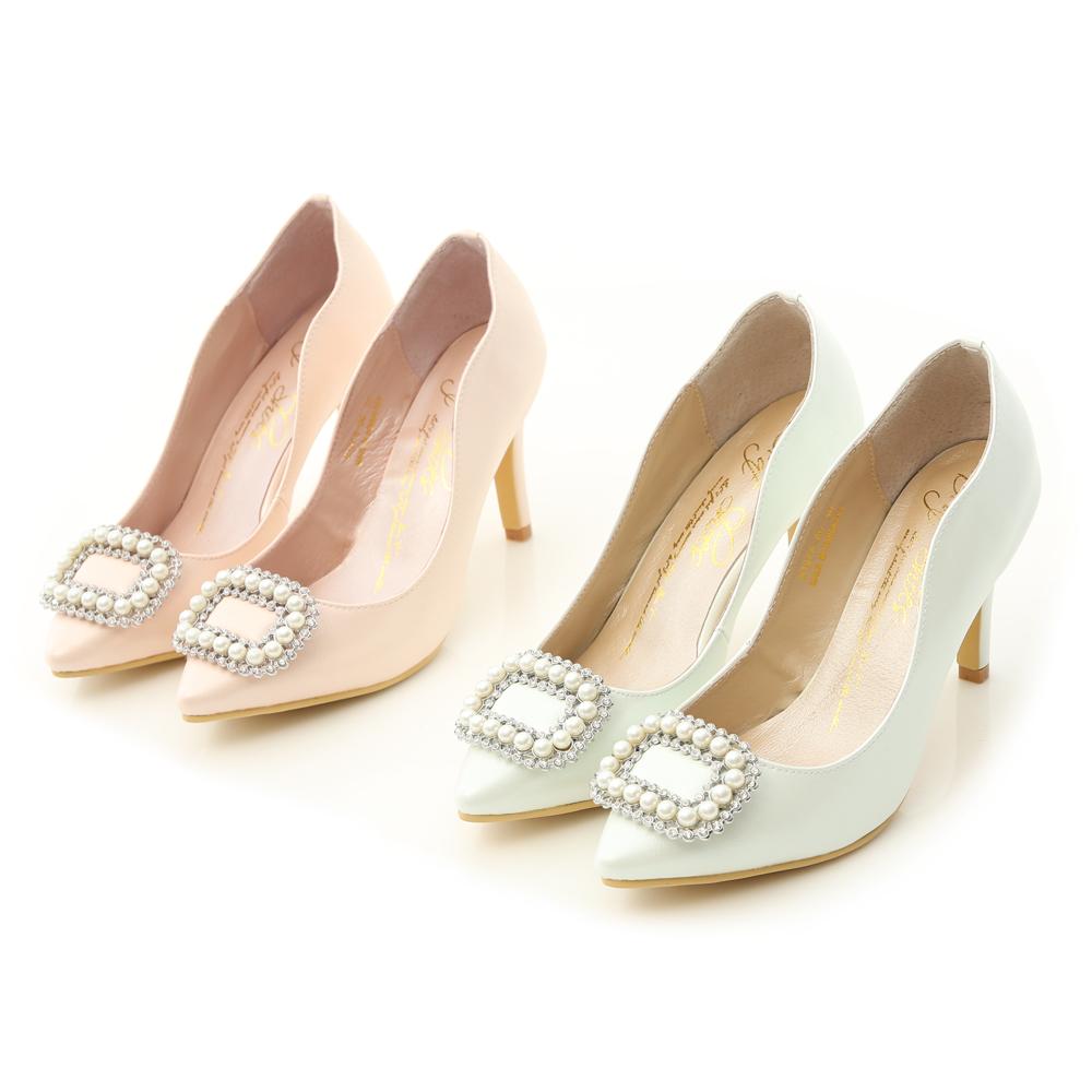 夢幻逸品.水鑽珍珠飾釦美形高跟鞋 珍珠白