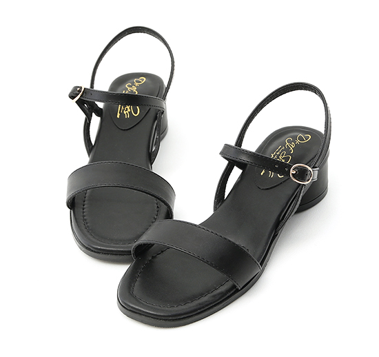 Ankle Strap Round Heel Sandals Black