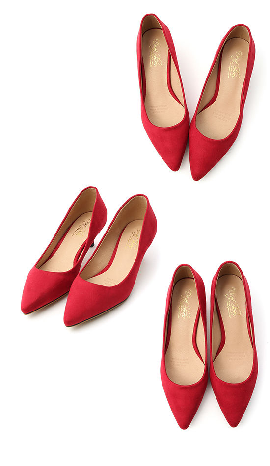 Plain Faux Suede Pointed Toe Low Heels Red
