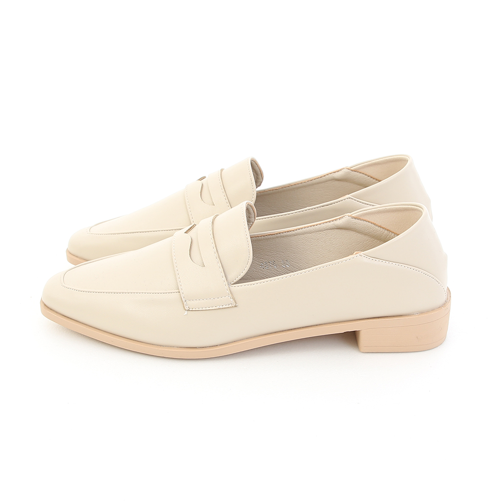 Classic Pointed Toe Penny Loafers Off-White