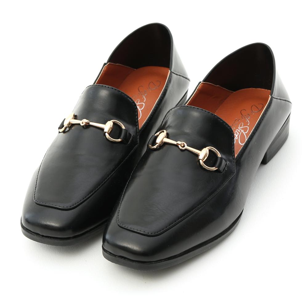紳士嚴選.馬銜釦可後踩平底樂福鞋 時尚黑