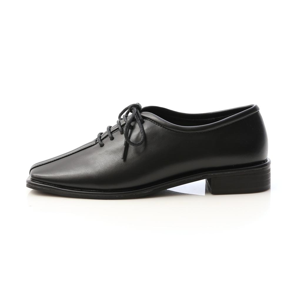 摩登時代.中車線方頭低跟牛津鞋 時尚黑