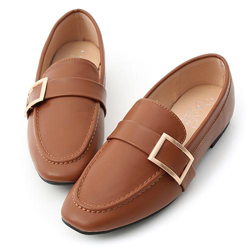 D+AF 學院品味.金屬大方釦平底樂福鞋