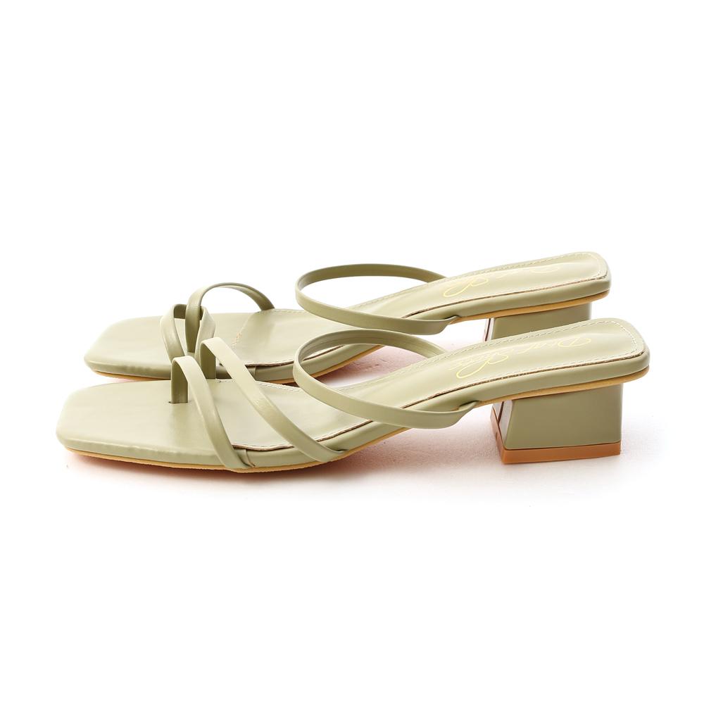 專屬夏日.不對稱設計低跟涼鞋 酪梨綠