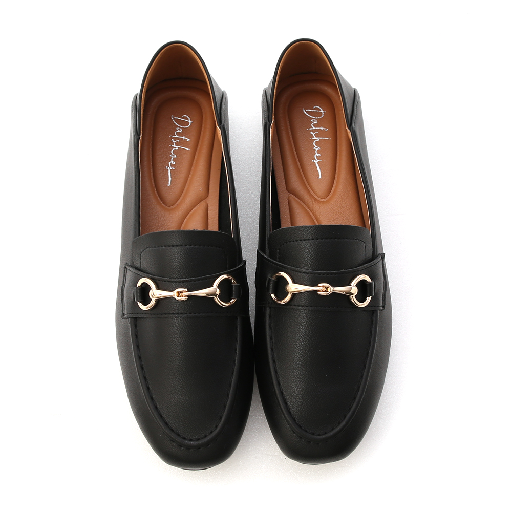 Soft Faux Leather Horsebit Loafers Black