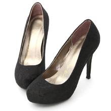 法式蕾絲素面水台高跟鞋 時尚黑