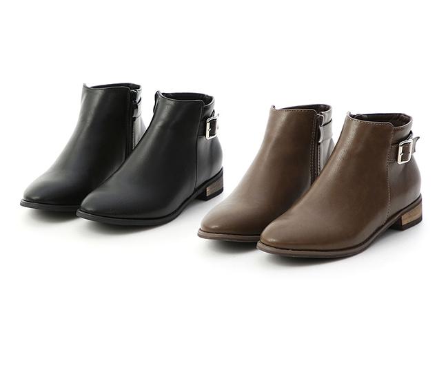 玩味個性.側金屬釦環低跟短靴 復古咖