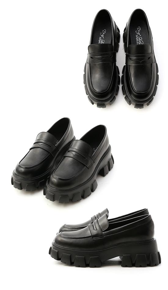 型人搭配.輕量鋸齒底樂福鞋 時尚黑