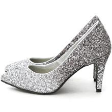 漸層閃料亮片水台高跟鞋 時尚銀灰
