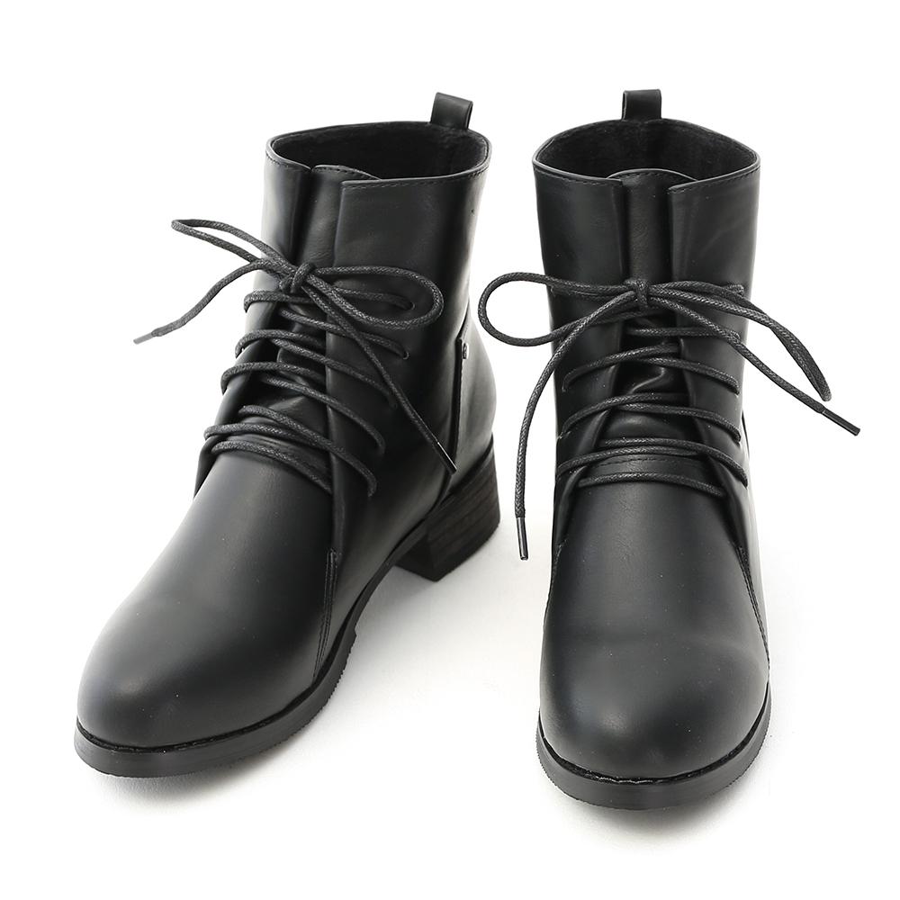 Lace-Up Low Heel Combat Boots Black