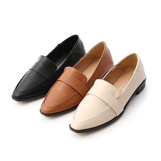Classic  Pointed Toe Foldback Loafers Black