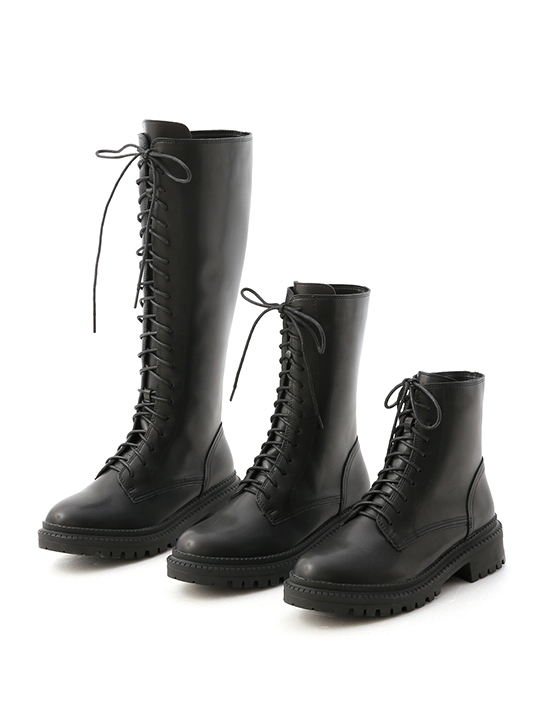 Thick Sole Lace-Up Mid-Tube Martin Boots Black