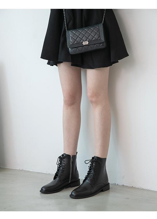 Metal Side Zip Lace-Up Low Heel Boots Black