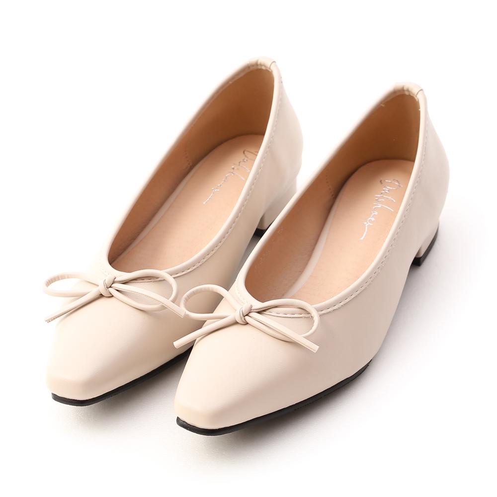 漫步女孩.尖頭低跟芭蕾娃娃鞋 香草米