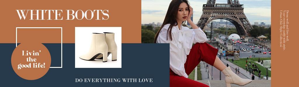 冬季小白靴推薦!時髦舒適又百搭,各式時尚白色短靴、襪靴等白色靴款盡在D+AF官方購物網站。