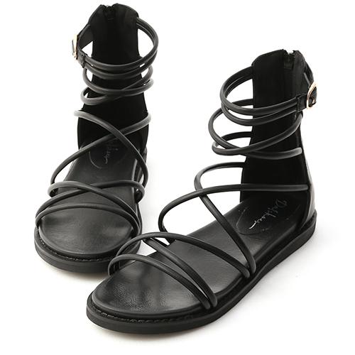 真夏個性.雙交叉細帶羅馬涼鞋