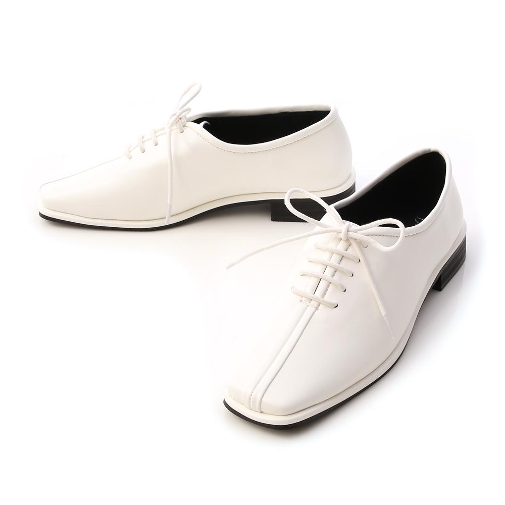 摩登時代.中車線方頭低跟牛津鞋 人氣白