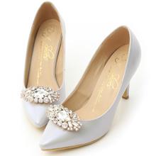華麗寶石釦飾美形高跟鞋 貝殼灰