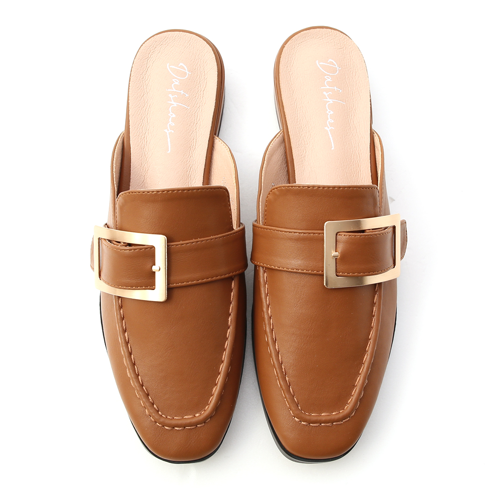 文青步調.質感大方釦低跟穆勒鞋 焦糖棕