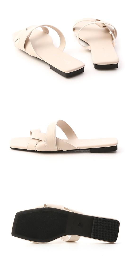 歐美指標.扭結設計方頭平底拖鞋 香草米白