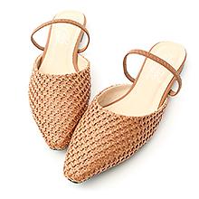 D+AF 清新美感.尖頭編織平底穆勒鞋