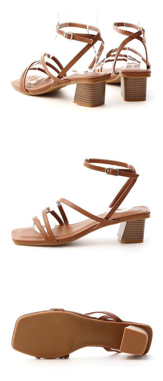 歐膩必備.Z字繫踝木紋跟涼鞋 焦糖棕