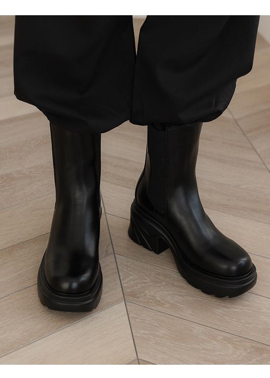 勁酷寶貝.輕量波浪跟切爾西短靴 時尚黑