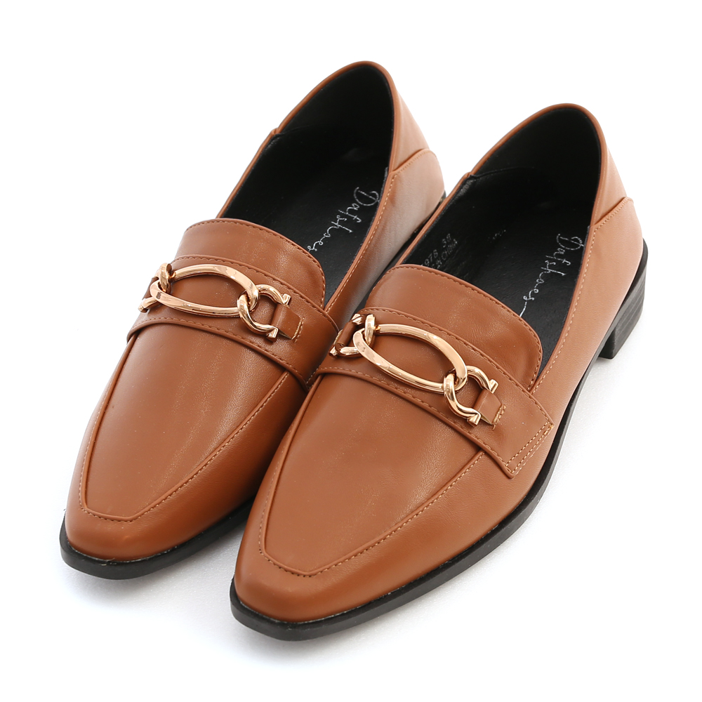 摩登復古.金屬環釦微尖頭樂福鞋 焦糖棕