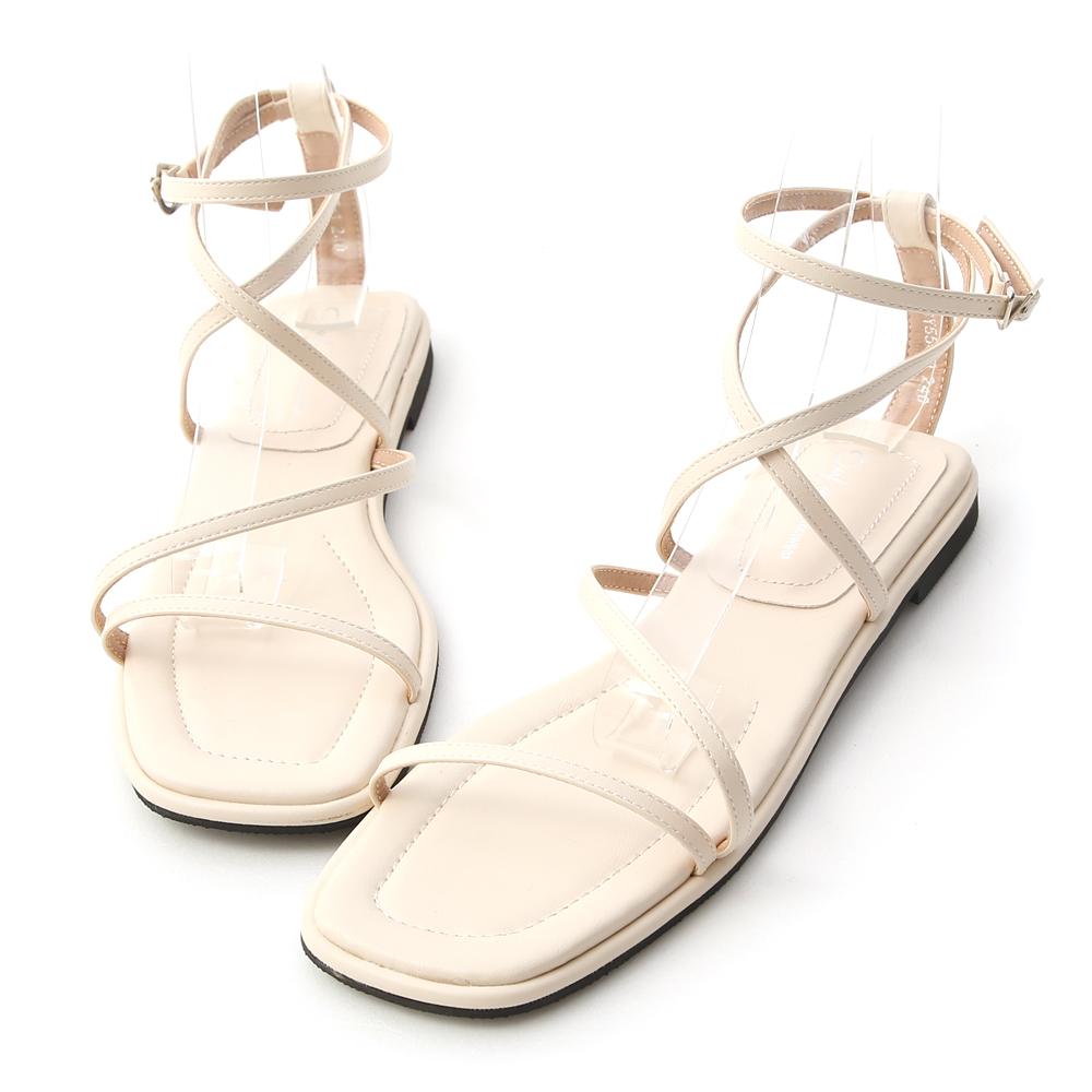 自信步調.層次感交叉平底涼鞋 香草白