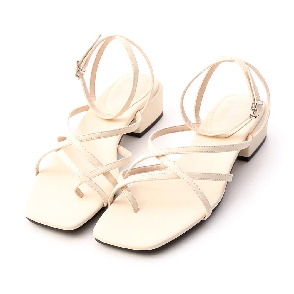 優雅夏氛.交叉細帶夾腳低跟涼鞋 香草米白