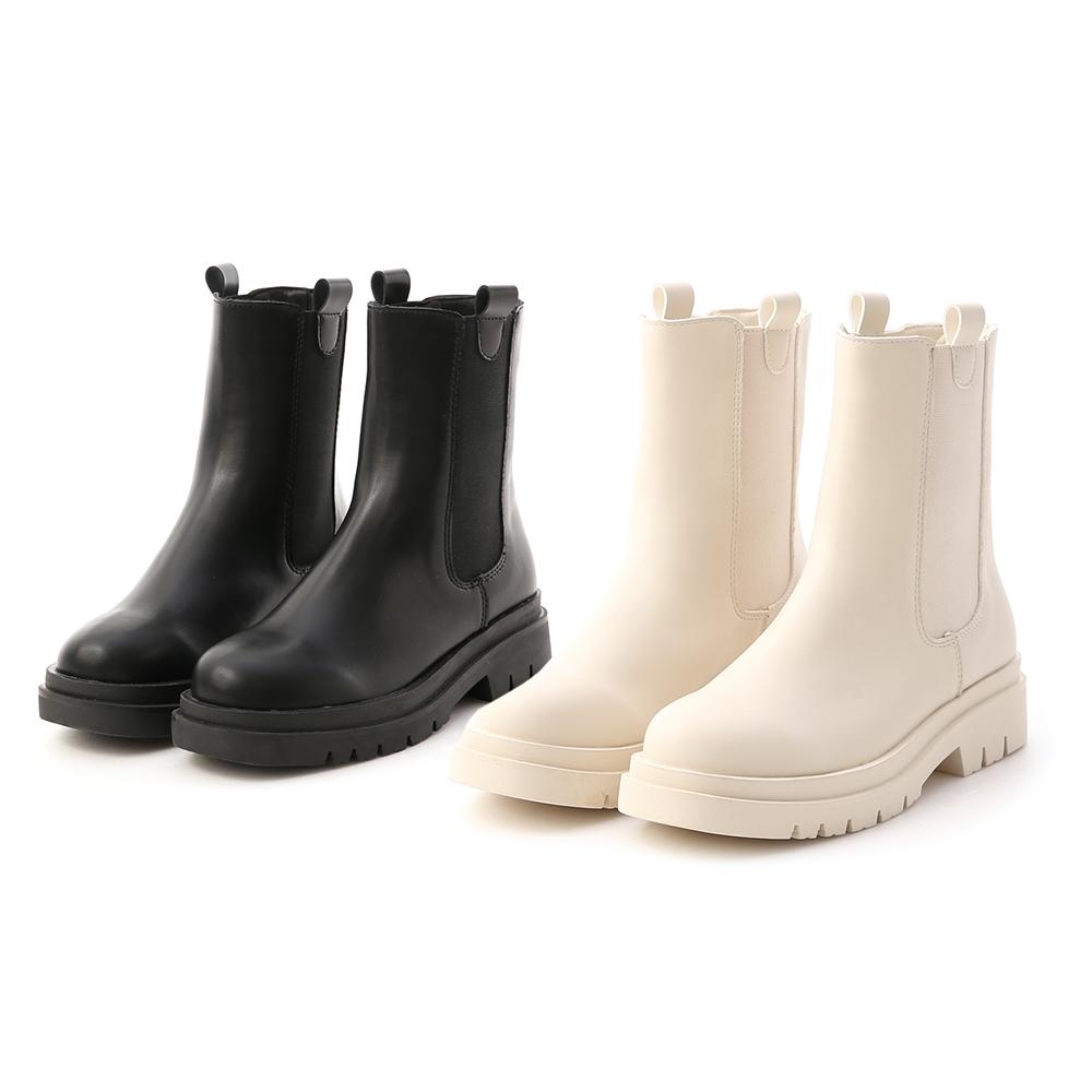 焦點時尚.加厚鞋底切爾西短靴 時尚黑